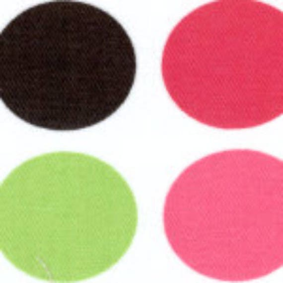 SALE - High Quality Fabric Finders Premium Dots Pique - Pink, Black, and Green Dots