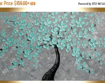 SALE Original   Modern  Mint Flowers Tree  Gray Acrylic  Impasto Textured  Palette Knife Painting. Made2Order.