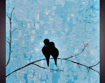 SALE Original Abstract   Blue  Love   Birds  Impasto Palette Knife  Wall Art Painting. Size 24 x 24 x 1.5