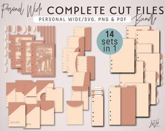 COMPLETE Cutting Files Bundle for Personal Wide Size Planners – Die Cutting Files - svg, png, pdf