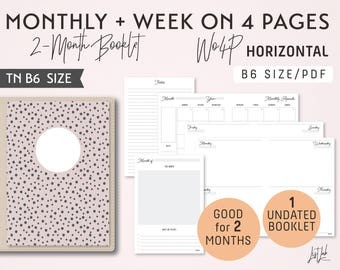 B6 Monthly-Weekly on 4 Pages Horizontal  Printable Booklet Insert - Good for 2 Months