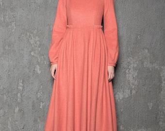Winter dress, wool dress, dress, maxi dress, long dress, long lantern sleeves dress, coral dress, simple dress, warm dress  C726
