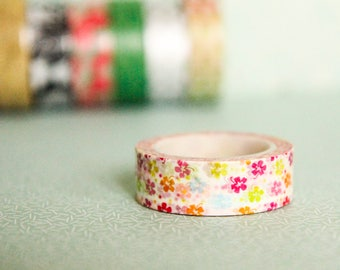 Masking tape, washi tape flowers 15mm x 10m 1 roll