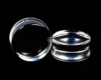 "6g (4mm) - 1-1/4"" (32mm) Clear Glass Plugs"