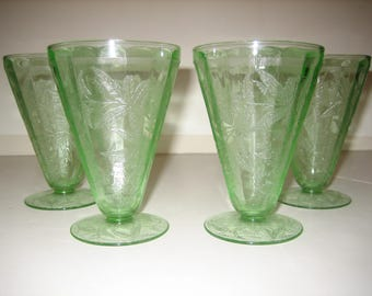 Floral Poinsettia Footed Tumblers