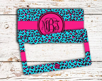 Leopard front license plate or frame for teen girls - Hot pink aqua blue - Gifts for girls (1026)