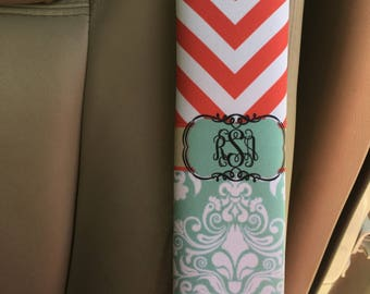 Red and blue car decor, Monogram seat belt strap cover, Personalized gift for her, Turquoise damask, Pretty car decoration for women  (1010)