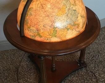 """Vintage Replogle Heirloom 16 """" Diameter Globe Wood Stand on Wheels"""