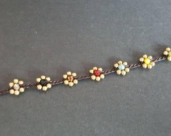 Crystal Colorful Brass Flower  Bracelet
