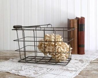 Vintage Wire Basket with Handle, Rustic Farmhouse Basket, Metal Basket, Industrial Decor, Industrial Storage, Rustic Loft Decor