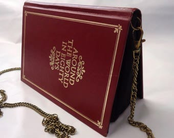 Around the World in Eighty Days Jules Verne Book Purse Red Bag Clutch - Upcycled Book