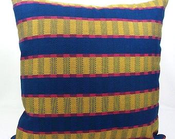 Blue striped pillow, Tan pink red,  Stripe pillow,  Striped throw pillow, Blue pillows, Blue throw pillows, Striped decorative throw pillow