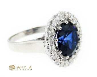 18k White Gold Blue Sapphire and Diamond Fashion Ring 200-3