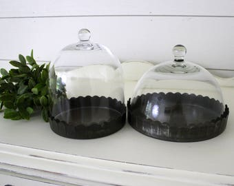 Pair of Glass Cloches . Farmhouse Decor . Fixer Upper Decor . Cottage Chic . Glass Dome . Metal Tray . Shabby Chic . Scalloped Edge Ticking