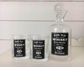 Glass Whiskey Decanter . Vintage Advertising . Black & White . Bar Glasses . Barware Bar Ware . Man Cave Decor . Farmhouse Decor .