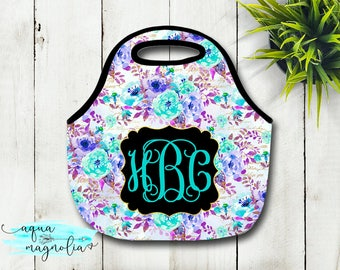 Personalized Lunch Tote - Lavender & Teal Floral Design - Monogrammed Tote - Lunch Box - Zippered Lunch Tote - Insulated Lunch Tote