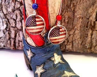 Earrings, usa flag, cowboy, western, country, usa, horses, fashion, retro, jewel cabochon