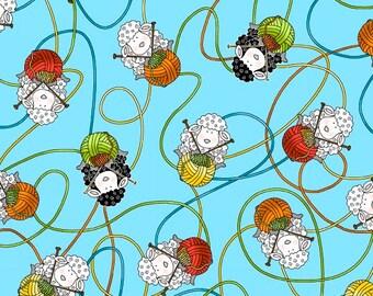 Sheep & Yarn on blue Fabric by Henry Glass Knit Happy yardage