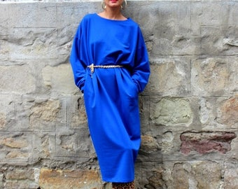 SALE ON 20 % OFF Blue dress/ midi dress/ Oversized Dress/ Maxi dress/ Fall Winter dress/ Party Dress/ plus size dress/ casual dress