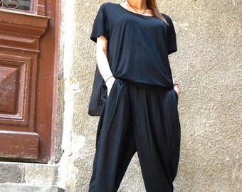 SALE New Loose Black Pants / Wide Leg Pants / Soft Light Viscose Textile Trousers/ Side pockets Asymmetrical Pants by AAKASHA A05548