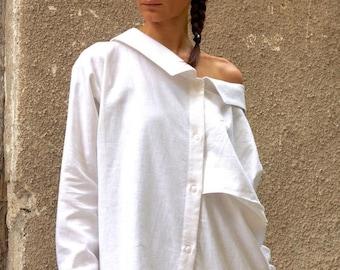 SALE NEW COLLECTION White Linen Shirt / Extravagant Shirt / Asymmetrical shirt / Oversize Summer Top by Aakasha A11142