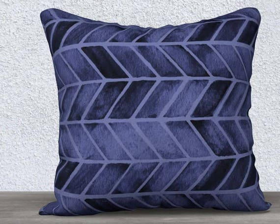 "Arrow Print Pillow Cover in Navy Blue, 14""x20"", 18""x18"""