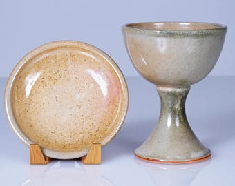 Ceramic Communion Set (Chalice + Paten): Wood-Fired Large Chalice and Stacking Paten in Orange & Grey Shino with Wood Ash. Seconds sale!