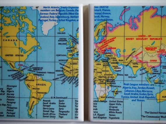 United Nations World Map Handmade Repurposed Map Coasters - World map nations