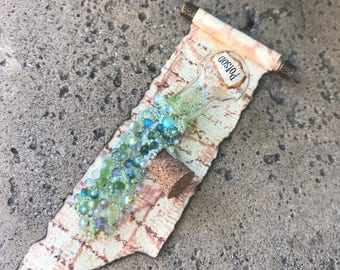 Green Poison Potion Spilled on a Long Torn Spell Scroll - Dollhouse Miniature (sp6)