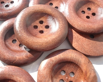 35mm Wood Sewing Buttons, 4-Hole Round Dark Coffee Buttons, Pack of 9 Wooden Buttons, W3501