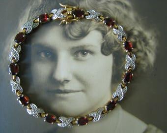 Vintage Gold Plated Garnet XO Tennis bracelet CZ Accents