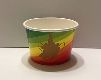 1- 8 oz Unicorn Rainbow Candy Party Favor Container Paper Bowl Snack Cup
