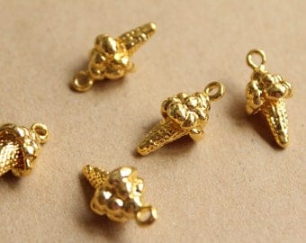 5 pc. Gold Ice Cream Cone Charms, 18mm x 12mm | MIS-129
