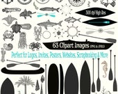 Sand & Sea Clipart Collection - 63 Clipart Images of Surf, Sand, Ocean, and Beach themed Designs -300dpi Instant Download -JPG and PNG Files