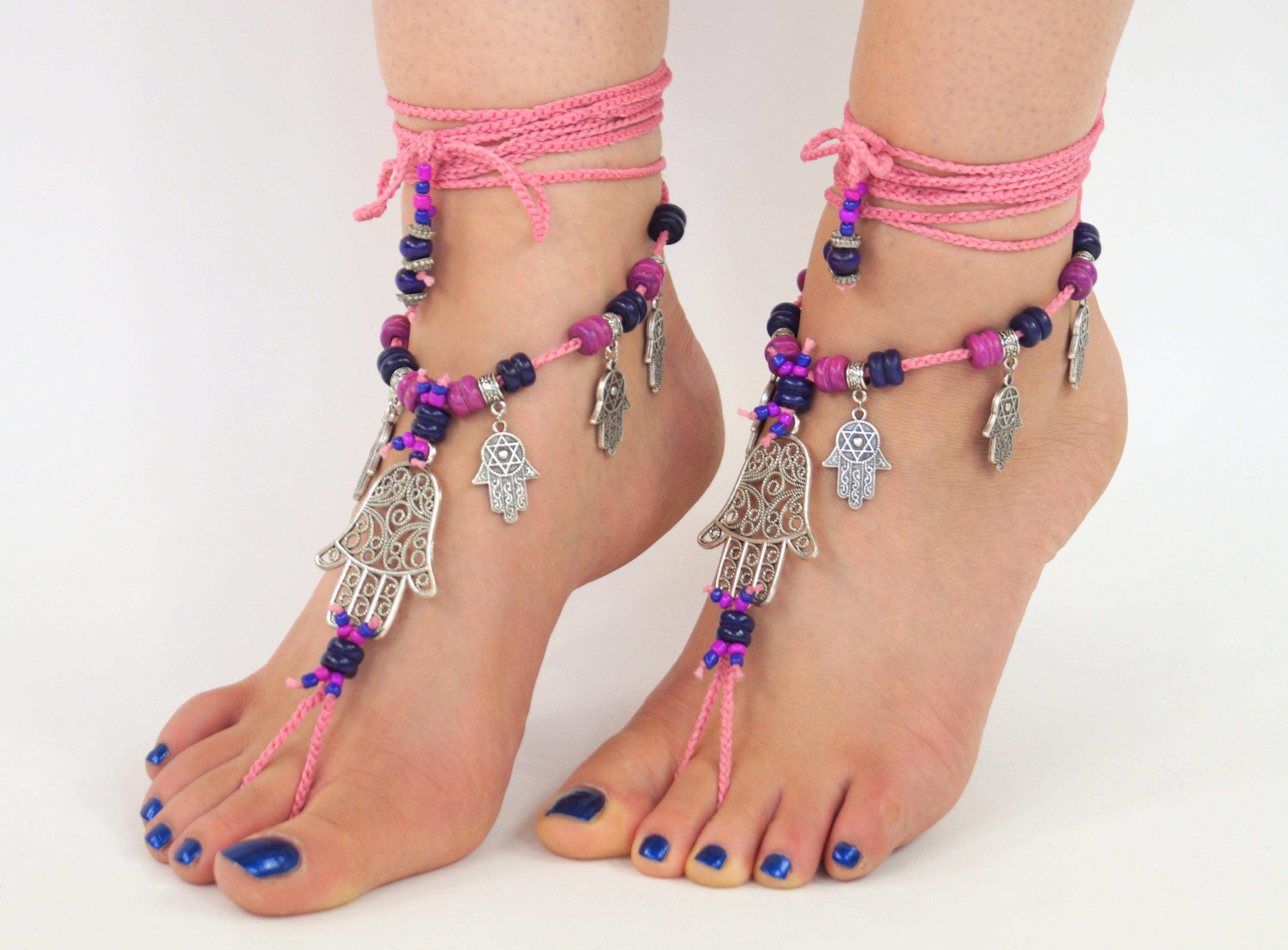 jewelry shoes sandals bridal beach yoga pool lace bellydance nude steampunk foot anklet usd black sexy media barefoot