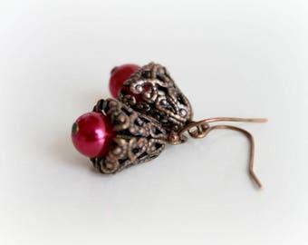 Cranberry Red Pearl Earrings. Antique Dangle Earrings. Handmade Earrings. Handcrafted Jewelry. Wedding Jewelry. Bridal Jewelry