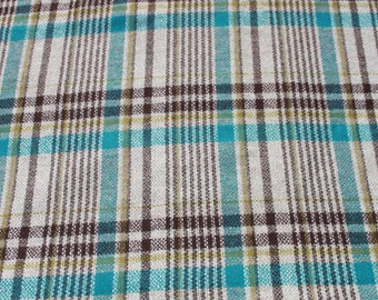 Vintage Turquoise Blue Green Brown Plaid Wool Fabric By The Yard, Quilting Sewing Dress Skirt Fabric Material BTY Yardage