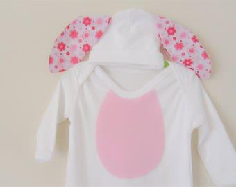 Baby Bunny Outfit - Easter Bunny bodysuit and hat with ears - Baby Easter costume - Easter baby clothes