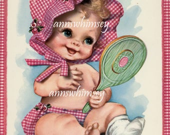 """Sweet Baby Girl Art Print A """"Look What I See"""" Great Baby Gift  #599"""