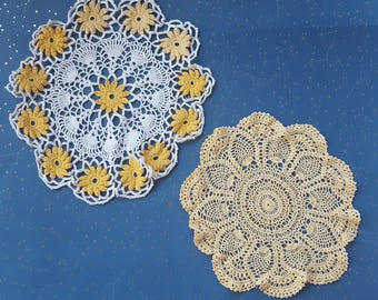 Vintage Yellow Crochet Doily Lot Doilies Lot of 2 Handmade Doily Tabletop Doily Cotton Doily Round Doilies