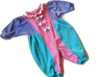 90s Baby Clothes Velour Romper One Piece Outfit Baby Girl Clothes Purple Baby Outfit Color Block 9 month Baby Togs 80s Baby Outfit