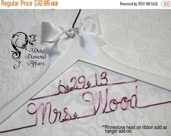 Christmas in July 2 Line Date Personalized Bridal Hanger, Wire Name Hanger, Wedding Dress Hanger, Personalized Bridal Gift - Rush delivery a