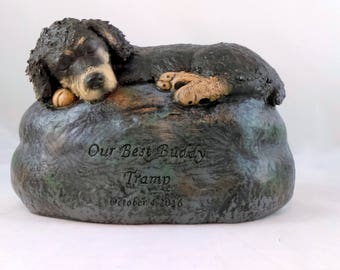 Ceramic Engraved Custom Spaniel Terrier Mix Painted Cremation Urn - hand made pet urn