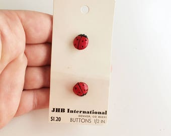 deadstock plastic vintage red lady bug 80's buttons by jbh international