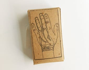 vintage bandage in box with hand anatomical drawing