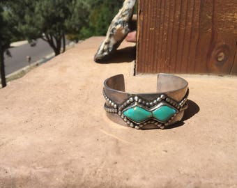 1950's Hand Crafted Navajo Heavy Coin Silver Beaded Turquoise Bracelet