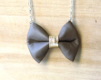 Necklace, Bow, Leather, Taupe, Gold
