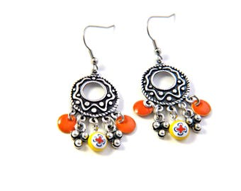 Bohemian Gypsy earrings enamel sequins millefiori glass bead spun