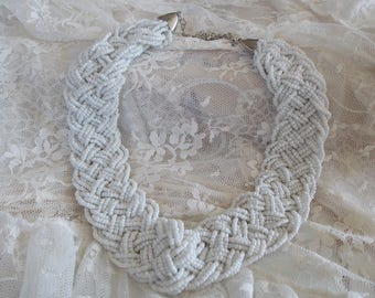 Vintage White Braided Seed BEAD NECKLACE