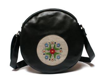 SALE Across body bag, round purse, leather bag, leather purse,  embroidery folk bag, square satchel purse bag